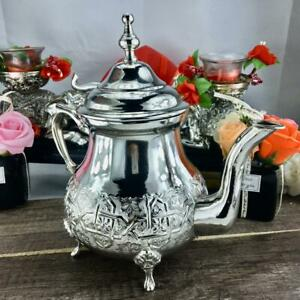 Silver Color New Moroccan traditional nickel-plated copper teapot from Fez city