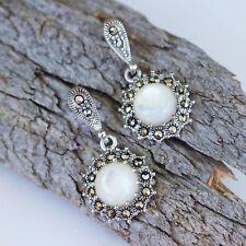 Genuine Sterling Silver Marcasite & Mother of Pearl Vintage Style Drop Earrings