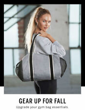 NWT Victoria's Secret Sport Duffle Tote Gym Bag Gray Black Weekend Workout Yoga
