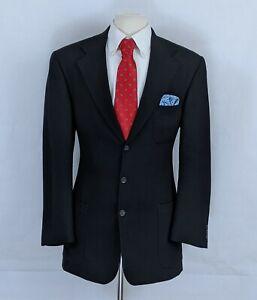 Mickey Spatz Men's Sport Coat Textured Black Blazer Wool 3-Btn Jacket Size 40L