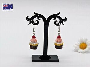 Vintage Retro Style 3D Cherry CUPCAKE Drop Dangle Earrings Gift Dress Accessory
