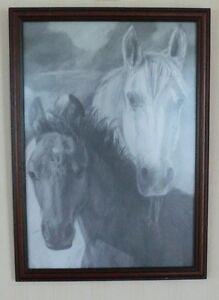 Etching of Two Horses (Print) by Ella Sinuki? Under Glass 33 x 43cm x 960g