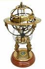 "Solid Brass Armillary Dial 18"" Sphere World Globe Desktop Table Lion Armillary"