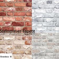 Grandeco Vliestapete - Steintapete Mauer - 4 versch. Farben  (2,24 Euro/qm)