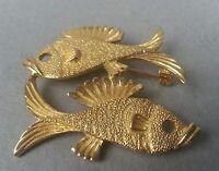 Vintage Fish Pin gold tone Brooch