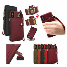 Business Leather Case With Strap Wallet Stand Flip Back Cover For Cell Phones