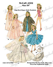 1960's  Miss revlon, etc doll clothes sewing pattern - 18 inches
