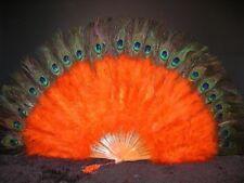 "MARABOU FEATHER FAN - ORANGE / Peacock 24"" x 14"" Burlesque/Costume/Halloween"