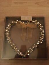 Hanging Heart Gold Bell Wreath Bnib