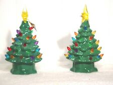 "7"" Green Porcelain Led Christmas Trees Set of 2 – Nib"