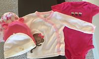 Lot of 5! Baby Girls Clothes And three Hats. 3 Months Carter's Mommy's Cupcake