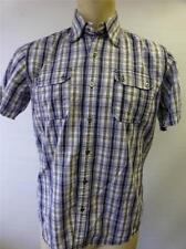 mens 7 Diamonds blue plaid short sleeve button up shirt sz Medium ladies on back