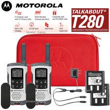 Motorola Talkabout T280 Walkie Talkies 2 Pack Set 25 Mile Two Way Radios + Case