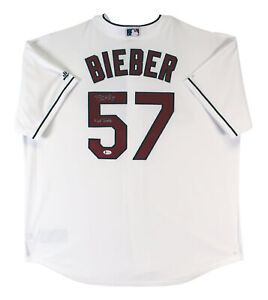 "Indians Shane Bieber ""Not Justin"" Signed White Majestic Cool Base Jersey BAS Wit"
