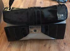 Ladies Marla London BNWT Black Cream Patent Bow Handbag Tote