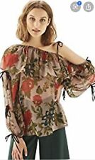 Topshop Floral Gypsy Style One Shoulder Long Sleeve Floaty Blouse Top U.K 8 Bnwt