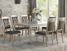 Perfect NEW 7PC TRANSITIONAL ZURICH METALLIC SILVER FINISH WOOD TUFTED DINING TABLE  SET