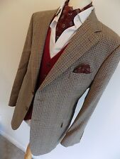 """MARKS & SPENCER mens BEIGE PURE WOOL DOGTOOTH CHECK SPORTS JACKET BLAZER 46""""S"""