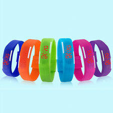 Mens Womens Striking Silicone Red LED Sport Bracelet Touch Digital Wrist Watch a