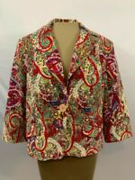 Latina Life Womens Multicolor Collared Button Down Paisley Print Jacket Size 16