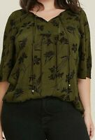 Evans ladies blouse plus size 14 16 18 20 22 24 26 28 30 khaki green tie neck
