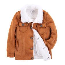 Boys Winter Warm Jacket Childrens Kids Fleece Button Coat Outerwear