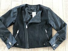 NEW Lucky Brand Black Faux Leather Contrast Moto Jacket Women's Size M NWT $139