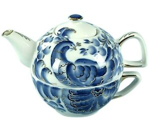Blue Pheasants Birds TEA FOR ONE Set - Teacup and Teapot by Dobrush, Belarus
