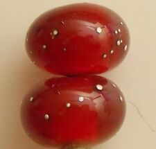 lampwork dark red silver bead 1 large hole european charm