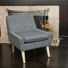 Retro Charcoal Grey Fabric Accent Chair w/ Button Tufted Backrest