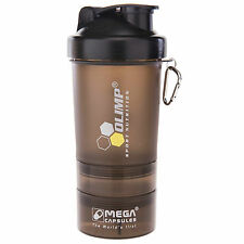 OLIMP Smart Shake BLACK LABEL 500ml Shaker Bottle Mixer HOLDS PROTEIN SEPARATELY