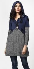 XL NWT Women's Reborn Cats Charcoal & Navy French Terry LS Hooded Tunic Pockets