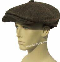 New Bakerboy Hat Gatsby Herringbone Tweed Flat Cap Mens Ladies Country Newsboy