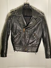 Vtg 50s/60s CAL-LEATHER Horsehide Motorcycle Padded Quilted Leather Jacket 38