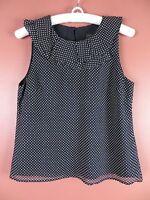 TB03861- J. CREW Woman 100% Silk Blouse Ruffle Trim Navy Blue White Dots 8 MINT