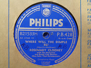 ROSEMARY CLOONEY - Where Will The Dimple Be? / Brahms' Lullaby 78 rpm disc (A+)