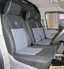 VW Transporter T5 Tailored Diamond Quilted Waterproof Van Seat Covers No Armrest