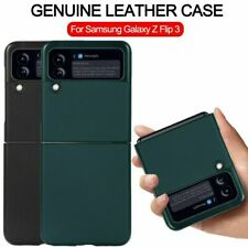 For Samsung Galaxy Z Flip 3 Luxury Real Leather Protective Case Shockproof Cover