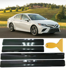 4Pc Black 5D Carbon Fiber Protecter Sticker Door Threshold Cover Anti-scratch US