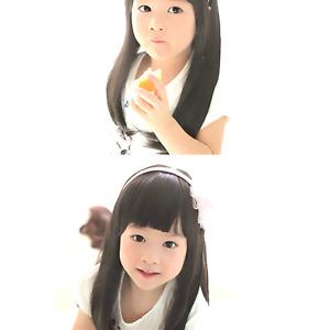 Fashion Black Straight Wigs for Kids Child Flat Bangs Heat Friendly Cosplay Wig