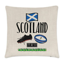 Rugby Scotland Linen Cushion Cover Pillow - Funny League Union Flag Sport