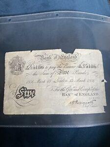 White Five Pound Note 1936