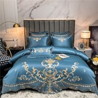 Luxury Satin Silk Cotton Bedding Set Embroidery Duvet Cover Flat/Fitted Sheet