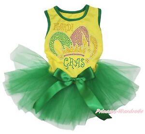 Mardi Gras Clown Hat Yellow Top Kelly Green Gauze Skirt Pet Dog Puppy Cat Dress