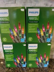 4 New Philips 100 Multi Mini Christmas Lights Indoor/Outdoor 26.5 Ft Length
