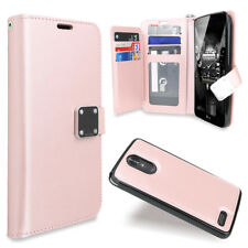For LG Stylo 3 Plus Removable Wallet Magnetic Flip Card Case +Tempered Glass