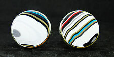 Fordite Cuff Links - Silver Base/20mm Round - Priced Per Pair  (20S1-020)