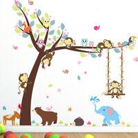 Affe Tiere Wand Sticker Dschungel Zoo Baum Kinderzimmer Baby DIY Aufkleber Kunst