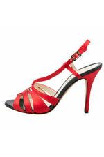 FENDI Red Satin Multi Strap High Heel Sandals (Size 38)