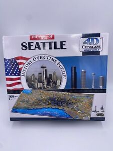 New Sealed 4D Cityscape 1100 Piece Puzzle SEATTLE History Over Time